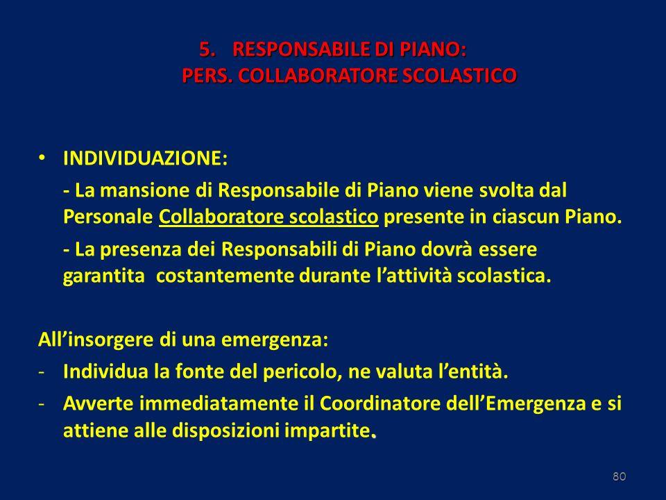 80 5.RESPONSABILE DI PIANO: PERS. COLLABORATORE SCOLASTICO INDIVIDUAZIONE: - La mansione di Responsabile di Piano viene svolta dal Personale Collabora