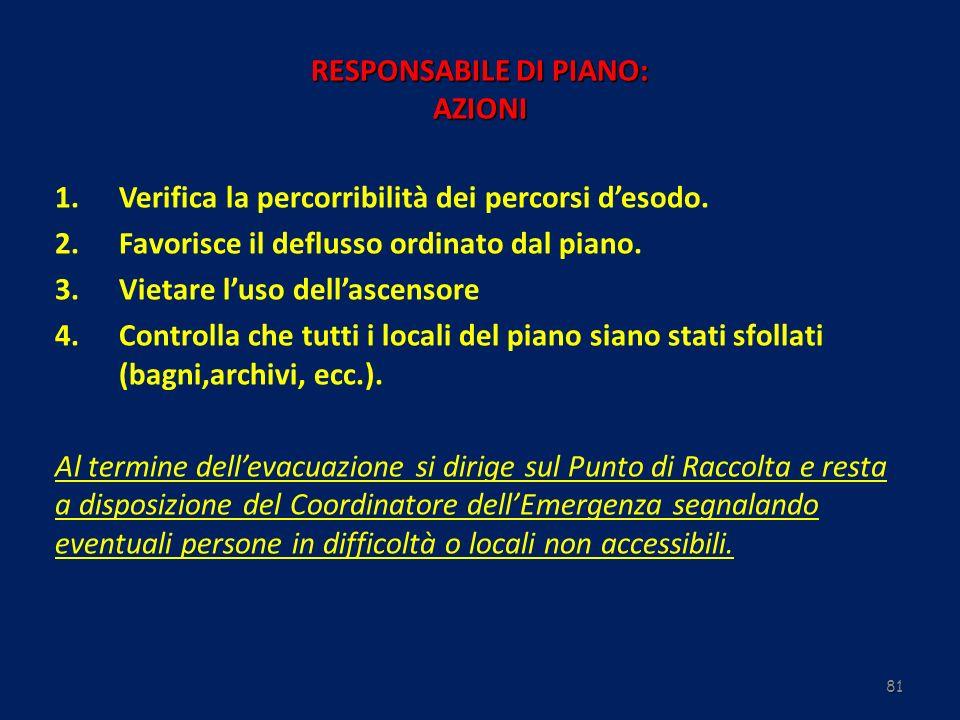 81 RESPONSABILE DI PIANO: AZIONI 1.Verifica la percorribilità dei percorsi desodo. 2.Favorisce il deflusso ordinato dal piano. 3.Vietare luso dellasce