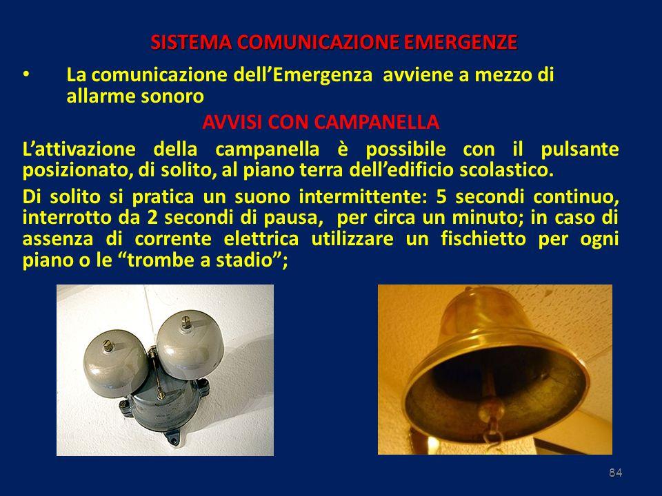 84 SISTEMA COMUNICAZIONE EMERGENZE La comunicazione dellEmergenza avviene a mezzo di allarme sonoro AVVISI CON CAMPANELLA Lattivazione della campanell