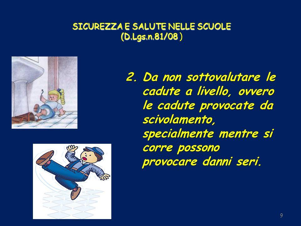 SICUREZZA E SALUTE NELLE SCUOLE (D.Lgs.n.81/08 SICUREZZA E SALUTE NELLE SCUOLE (D.Lgs.n.81/08 ) 9 2.Da non sottovalutare le cadute a livello, ovvero l