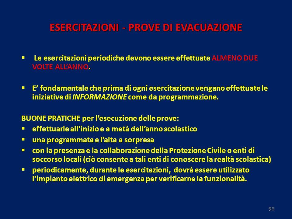 93 ESERCITAZIONI - PROVE DI EVACUAZIONE Le esercitazioni periodiche devono essere effettuate ALMENO DUE VOLTE ALLANNO. E fondamentale che prima di ogn