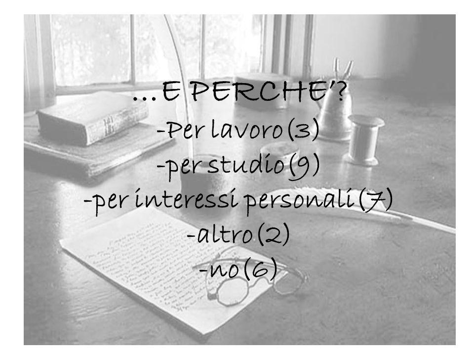 …E PERCHE? -Per lavoro(3) -per studio(9) -per interessi personali(7) -altro(2) -no(6)