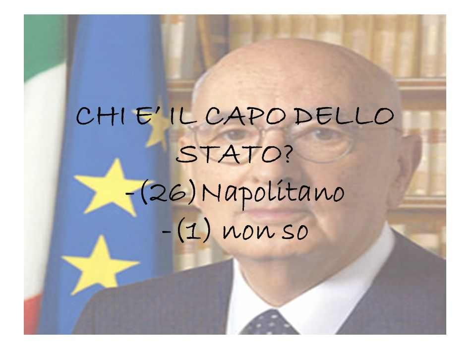 CHI E IL CAPO DELLO STATO? -(26)Napolitano -(1) non so
