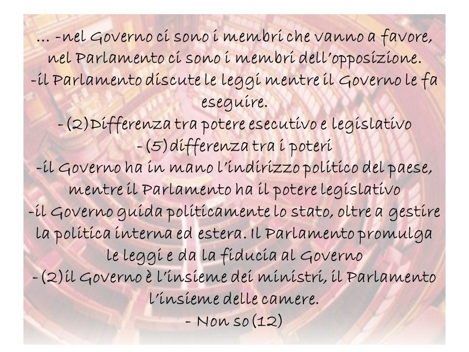 … -nel Governo ci sono i membri che vanno a favore, nel Parlamento ci sono i membri dellopposizione. -il Parlamento discute le leggi mentre il Governo