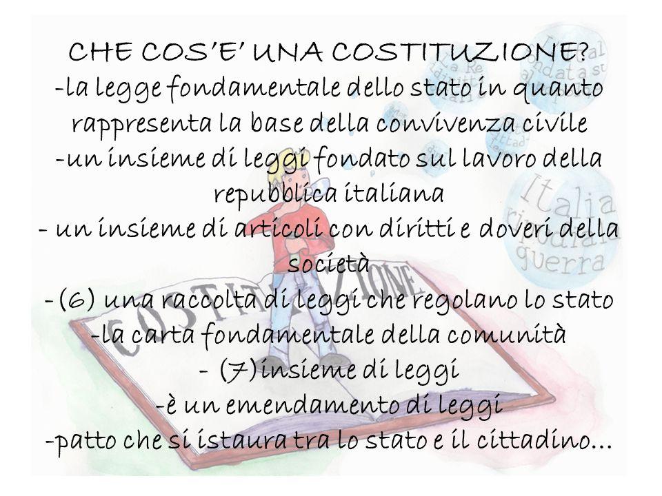 CHE COSE UNA COSTITUZIONE? -la legge fondamentale dello stato in quanto rappresenta la base della convivenza civile -un insieme di leggi fondato sul l