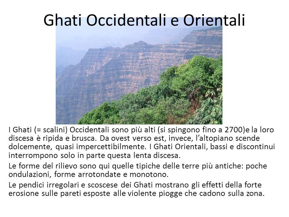 Ghati Occidentali e Orientali I Ghati (= scalini) Occidentali sono più alti (si spingono fino a 2700)e la loro discesa è ripida e brusca. Da ovest ver