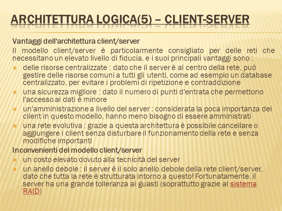 Vantaggi dell'architettura client/server Il modello client/server è particolarmente consigliato per delle reti che necessitano un elevato livello di f