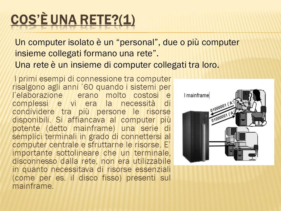 I primi esempi di connessione tra computer risalgono agli anni 60 quando i sistemi per lelaborazione erano molto costosi e complessi e vi era la neces