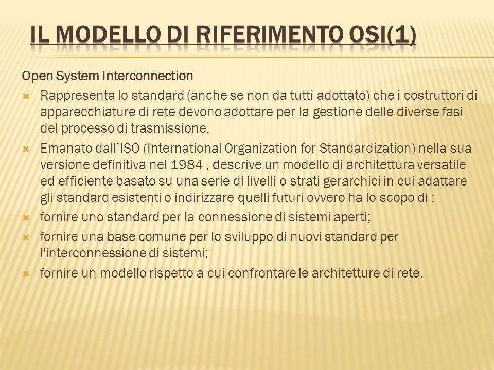 Open System Interconnection Rappresenta lo standard (anche se non da tutti adottato) che i costruttori di apparecchiature di rete devono adottare per