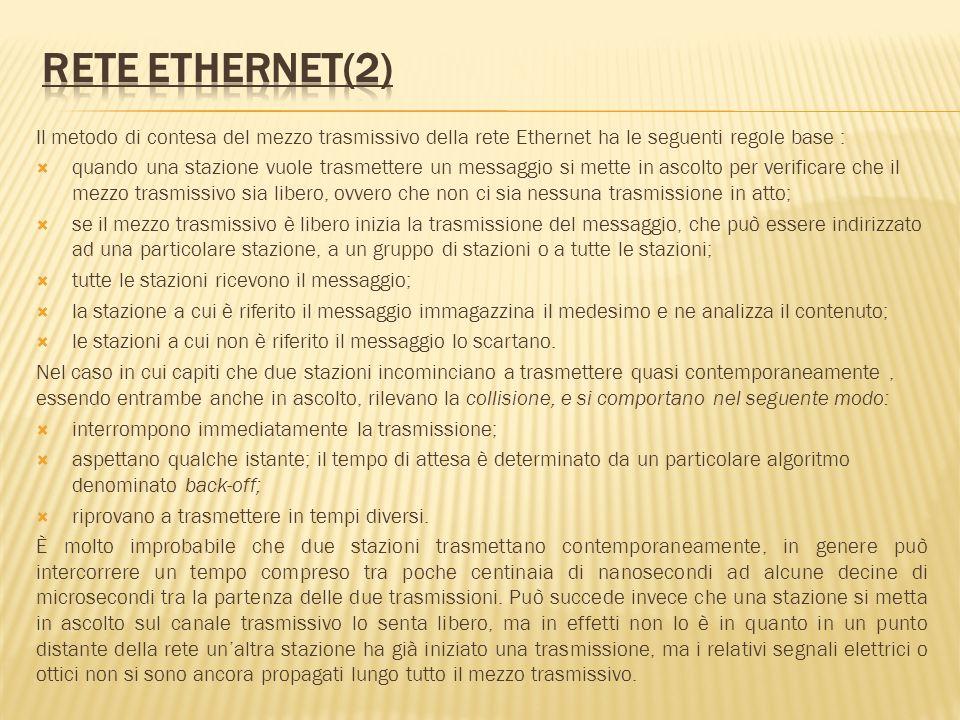 Il metodo di contesa del mezzo trasmissivo della rete Ethernet ha le seguenti regole base : quando una stazione vuole trasmettere un messaggio si mett