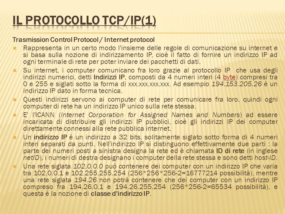 Trasmission Control Protocol / Internet protocol Rappresenta in un certo modo l'insieme delle regole di comunicazione su internet e si basa sulla nozi