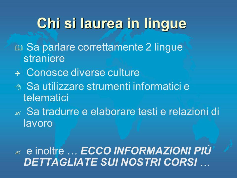 Chi si laurea in lingue Sa parlare correttamente 2 lingue straniere Conosce diverse culture Sa utilizzare strumenti informatici e telematici Sa tradur