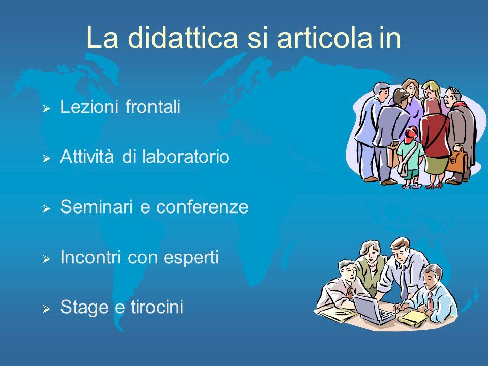 La didattica si articolain Lezioni frontali Attività di laboratorio Seminari e conferenze Incontri con esperti Stage e tirocini