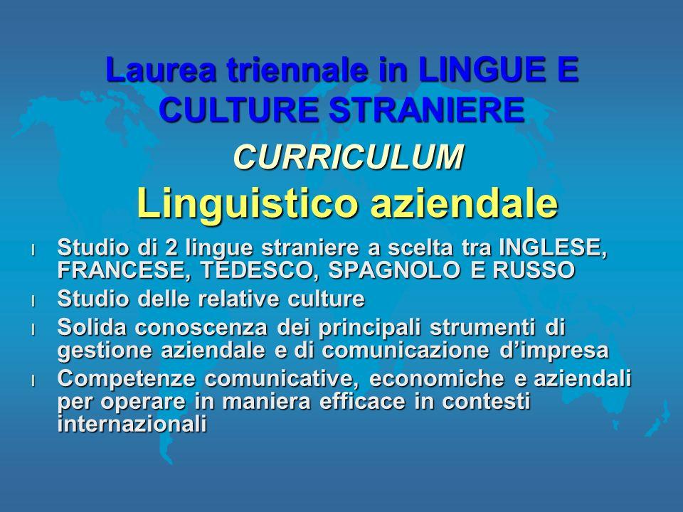l Studio di 2 lingue straniere a scelta tra INGLESE, FRANCESE, TEDESCO, SPAGNOLO E RUSSO l Studio delle relative culture l Solida conoscenza dei princ