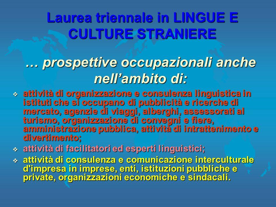 attività di organizzazione e consulenza linguistica in istituti che si occupano di pubblicità e ricerche di mercato, agenzie di viaggi, alberghi, asse