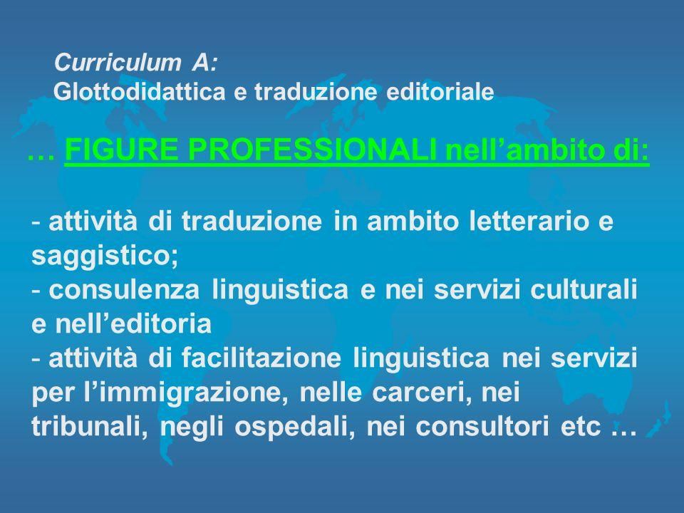 Curriculum A: Glottodidattica e traduzione editoriale … FIGURE PROFESSIONALI nellambito di: - attività di traduzione in ambito letterario e saggistico