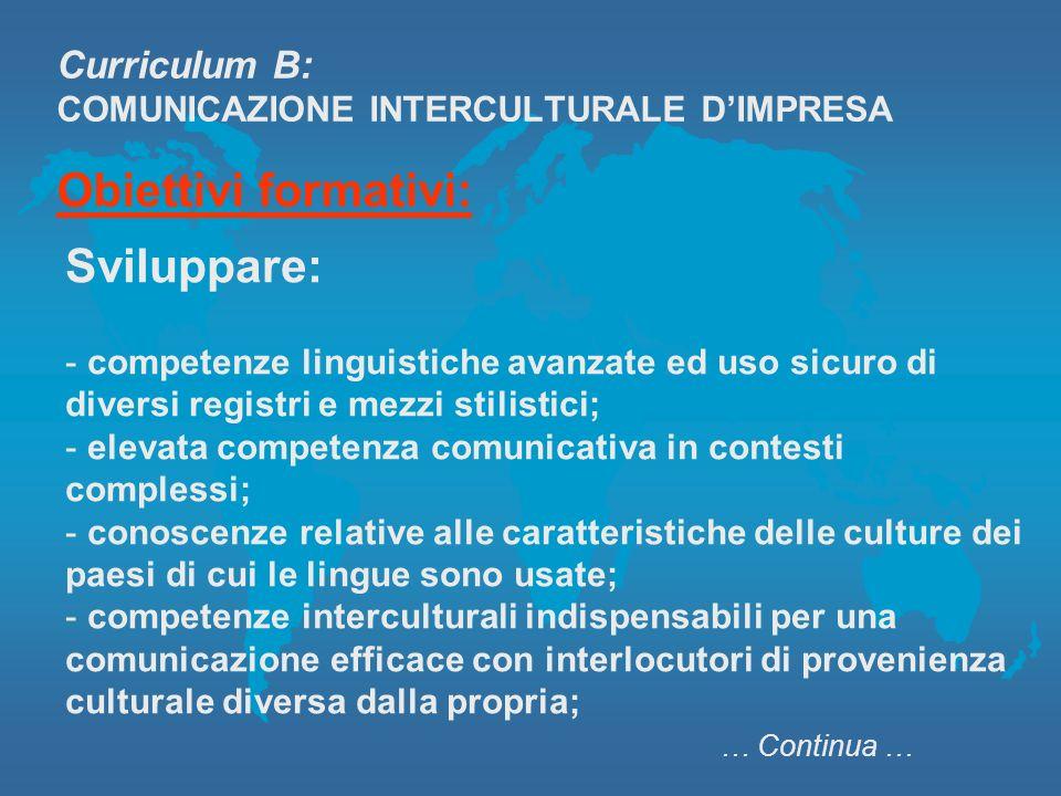 Curriculum B: COMUNICAZIONE INTERCULTURALE DIMPRESA Obiettivi formativi: Sviluppare: - competenze linguistiche avanzate ed uso sicuro di diversi regis