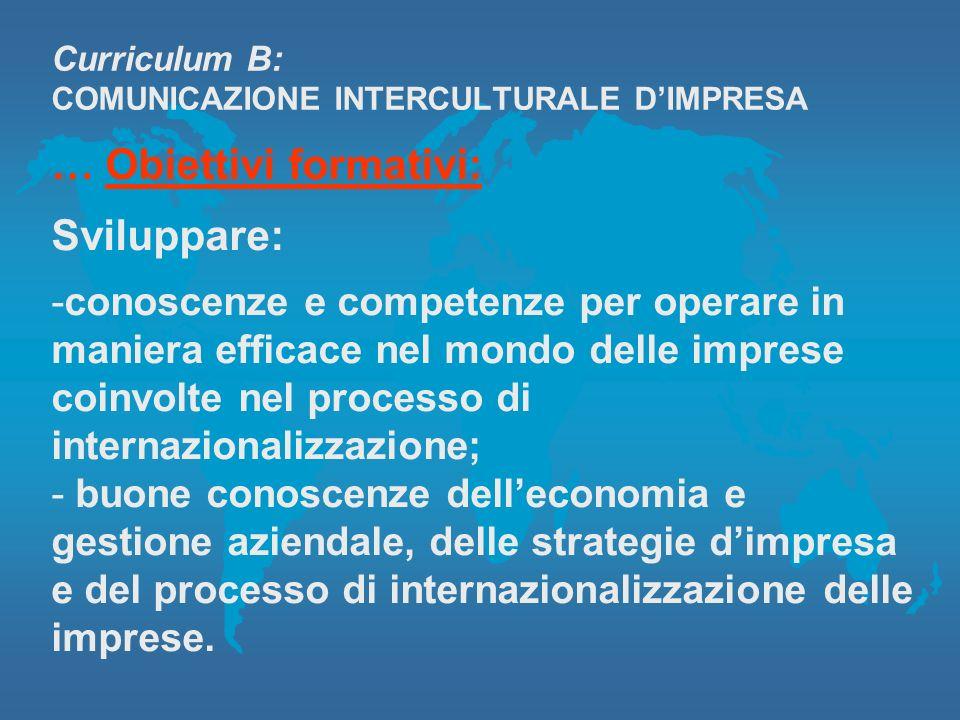 Curriculum B: COMUNICAZIONE INTERCULTURALE DIMPRESA … Obiettivi formativi: Sviluppare: -conoscenze e competenze per operare in maniera efficace nel mo
