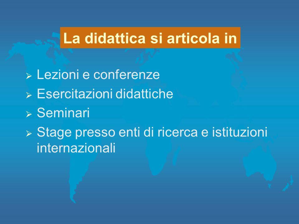 Lezioni e conferenze Esercitazioni didattiche Seminari Stage presso enti di ricerca e istituzioni internazionali La didattica si articola in