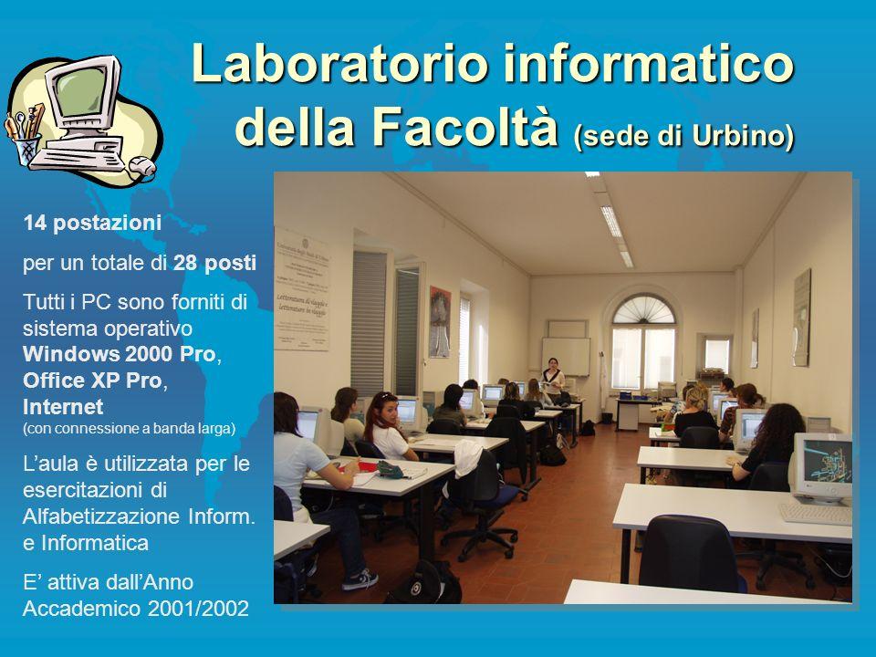 Laboratorio informatico della Facoltà (sede di Urbino) 14 postazioni per un totale di 28 posti Tutti i PC sono forniti di sistema operativo Windows 20
