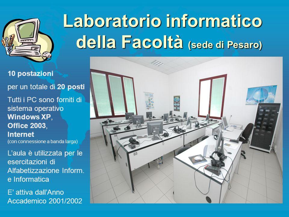 Laboratorio informatico della Facoltà (sede di Pesaro) 10 postazioni per un totale di 20 posti Tutti i PC sono forniti di sistema operativo Windows XP