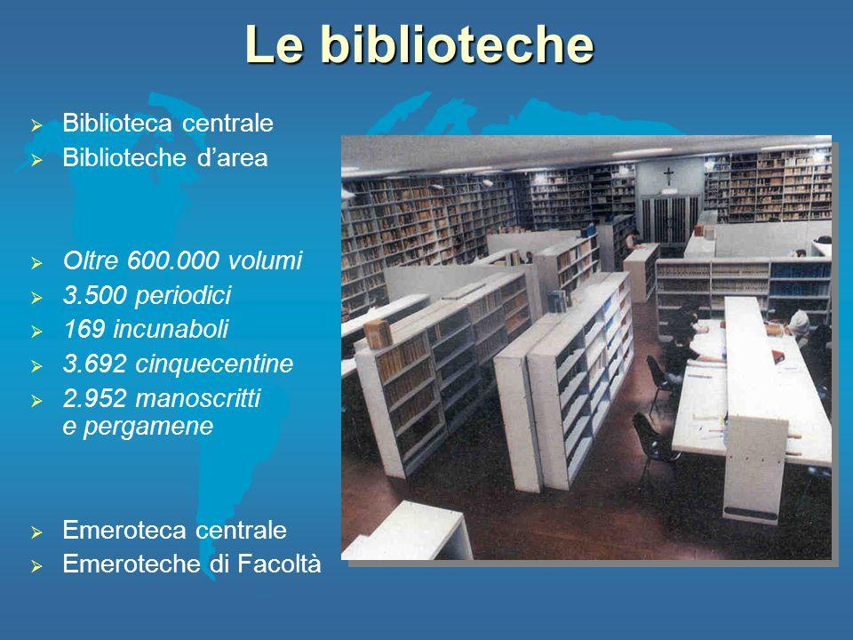 Le biblioteche Biblioteca centrale Biblioteche darea Oltre 600.000 volumi 3.500 periodici 169 incunaboli 3.692 cinquecentine 2.952 manoscritti e perga