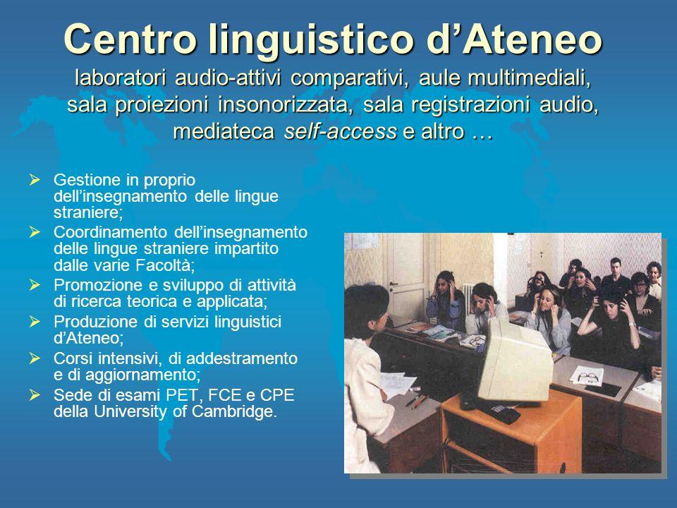 Centro linguistico dAteneo laboratori audio-attivi comparativi, aule multimediali, sala proiezioni insonorizzata, sala registrazioni audio, mediateca