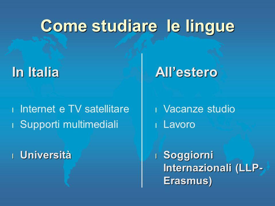 In Italia l Internet e TV satellitare l Supporti multimediali l Università Allestero l Vacanze studio l Lavoro l Soggiorni Internazionali (LLP- Erasmu