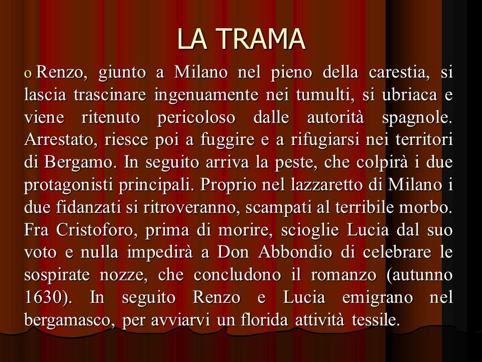 LA TRAMA o Renzo, giunto a Milano nel pieno della carestia, si lascia trascinare ingenuamente nei tumulti, si ubriaca e viene ritenuto pericoloso dalle autorità spagnole.