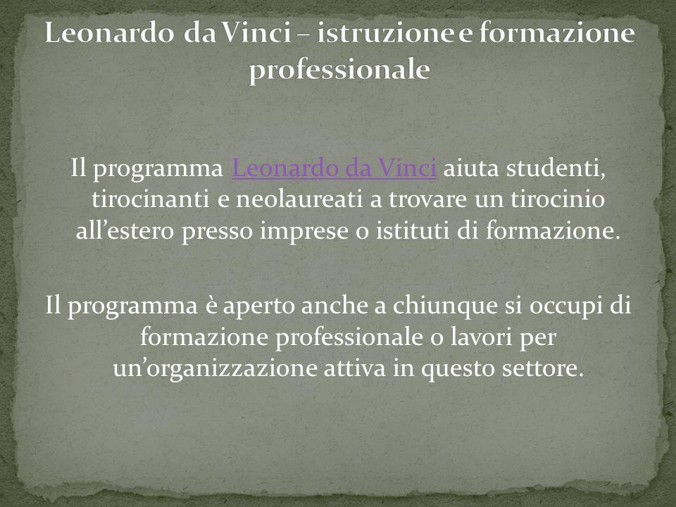 Il programma Leonardo da Vinci aiuta studenti, tirocinanti e neolaureati a trovare un tirocinio allestero presso imprese o istituti di formazione.Leon