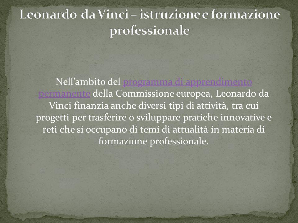 Nellambito del programma di apprendimento permanente della Commissione europea, Leonardo da Vinci finanzia anche diversi tipi di attività, tra cui pro