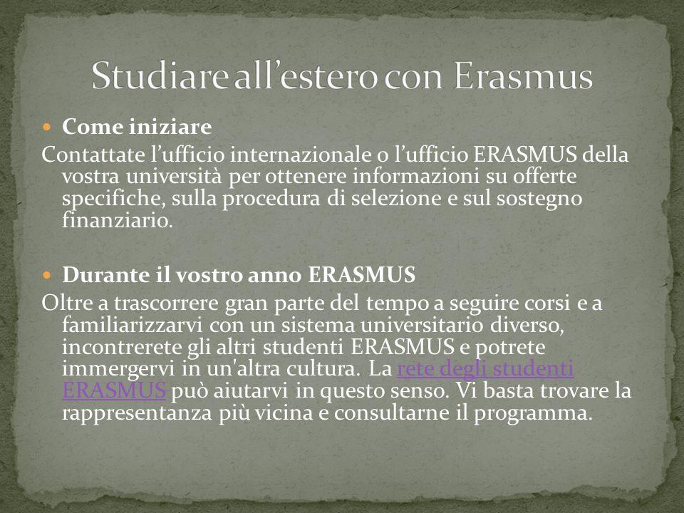 Come iniziare Contattate lufficio internazionale o lufficio ERASMUS della vostra università per ottenere informazioni su offerte specifiche, sulla pro