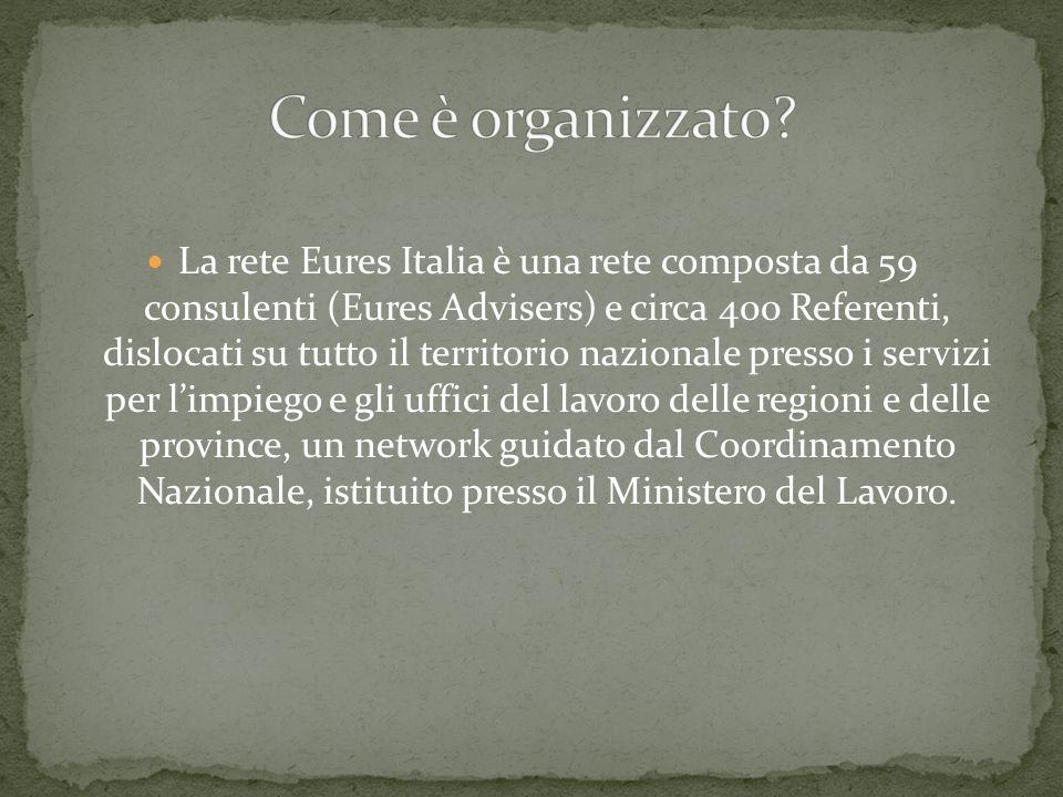 La rete Eures Italia è una rete composta da 59 consulenti (Eures Advisers) e circa 400 Referenti, dislocati su tutto il territorio nazionale presso i