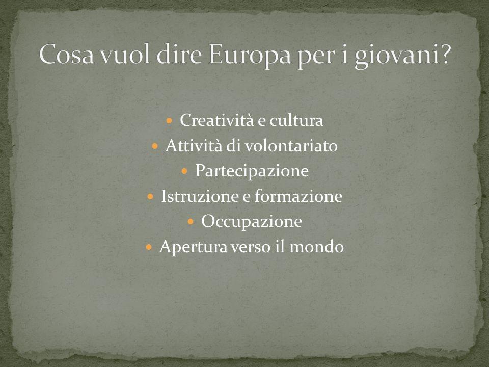 Creatività e cultura Attività di volontariato Partecipazione Istruzione e formazione Occupazione Apertura verso il mondo