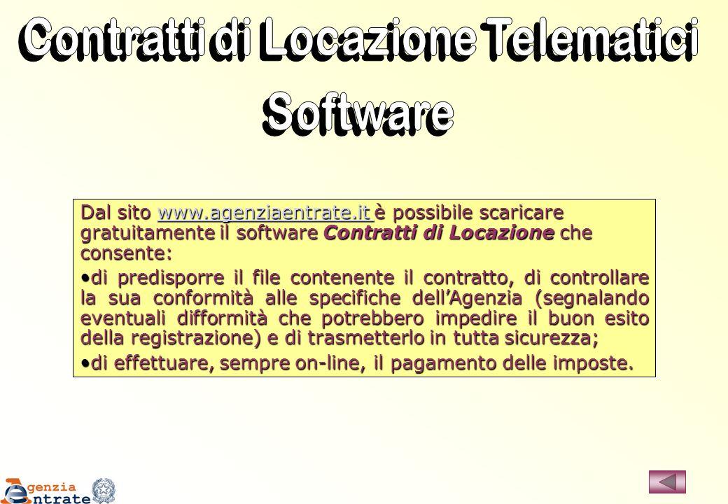 Dal sito www.agenziaentrate.it è possibile scaricare gratuitamente il software Contratti di Locazione che consente: www.agenziaentrate.it di predispor