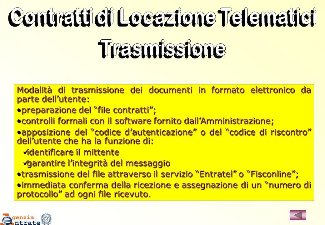 Modalità di trasmissione dei documenti in formato elettronico da parte dellutente: preparazione del file contratti;preparazione del file contratti; co
