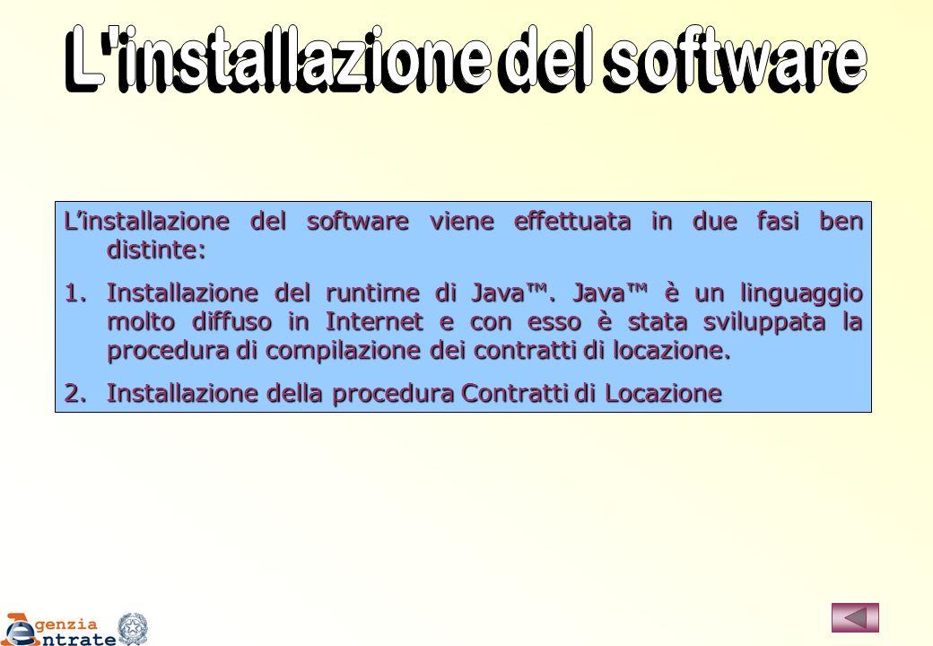 Linstallazione del software viene effettuata in due fasi ben distinte: 1.Installazione del runtime di Java. Java è un linguaggio molto diffuso in Inte