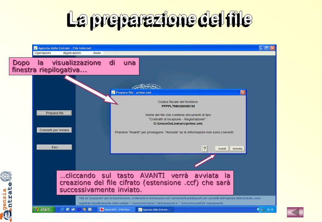 …cliccando sul tasto AVANTI verrà avviata la creazione del file cifrato (estensione.ccf) che sarà successivamente inviato. Dopo la visualizzazione di