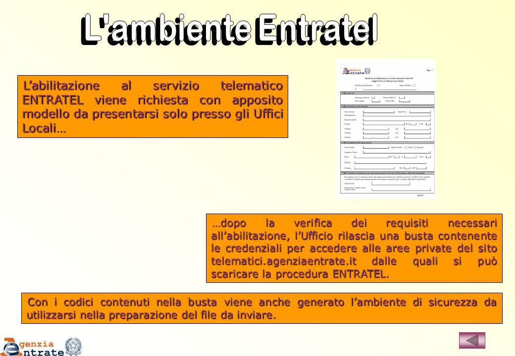 Labilitazione al servizio telematico ENTRATEL viene richiesta con apposito modello da presentarsi solo presso gli Uffici Locali… …dopo la verifica dei