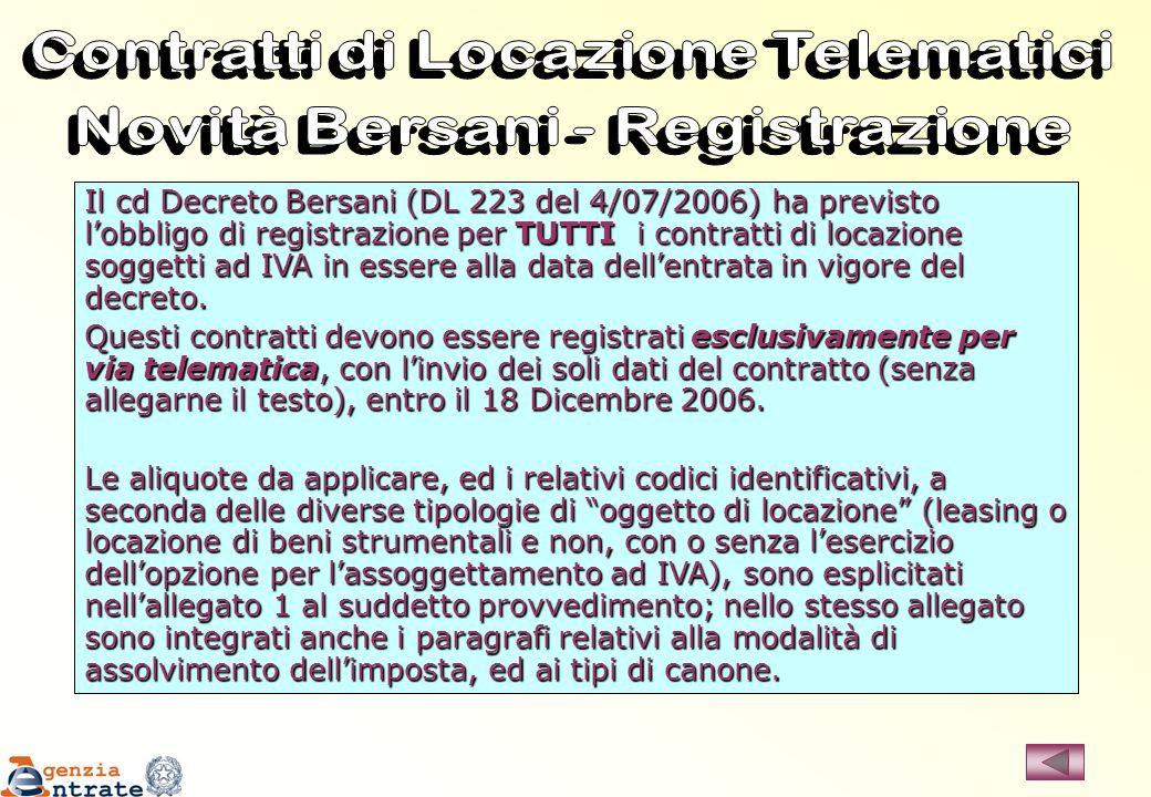 Il cd Decreto Bersani (DL 223 del 4/07/2006) ha previsto lobbligo di registrazione per TUTTI i contratti di locazione soggetti ad IVA in essere alla d