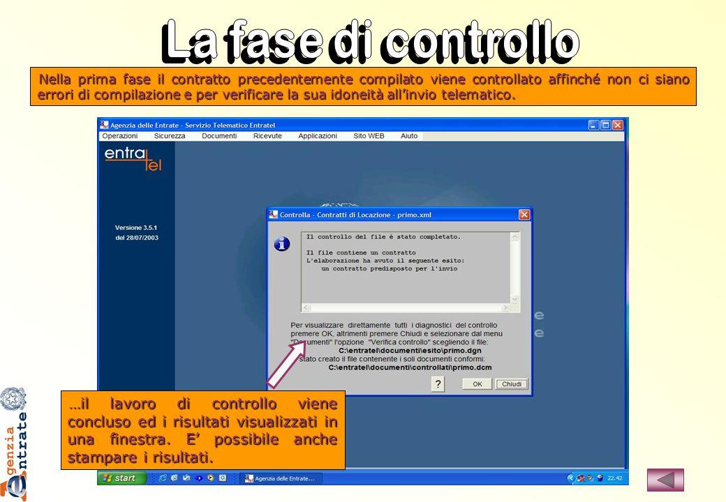 …il lavoro di controllo viene concluso ed i risultati visualizzati in una finestra. E possibile anche stampare i risultati. Nella prima fase il contra