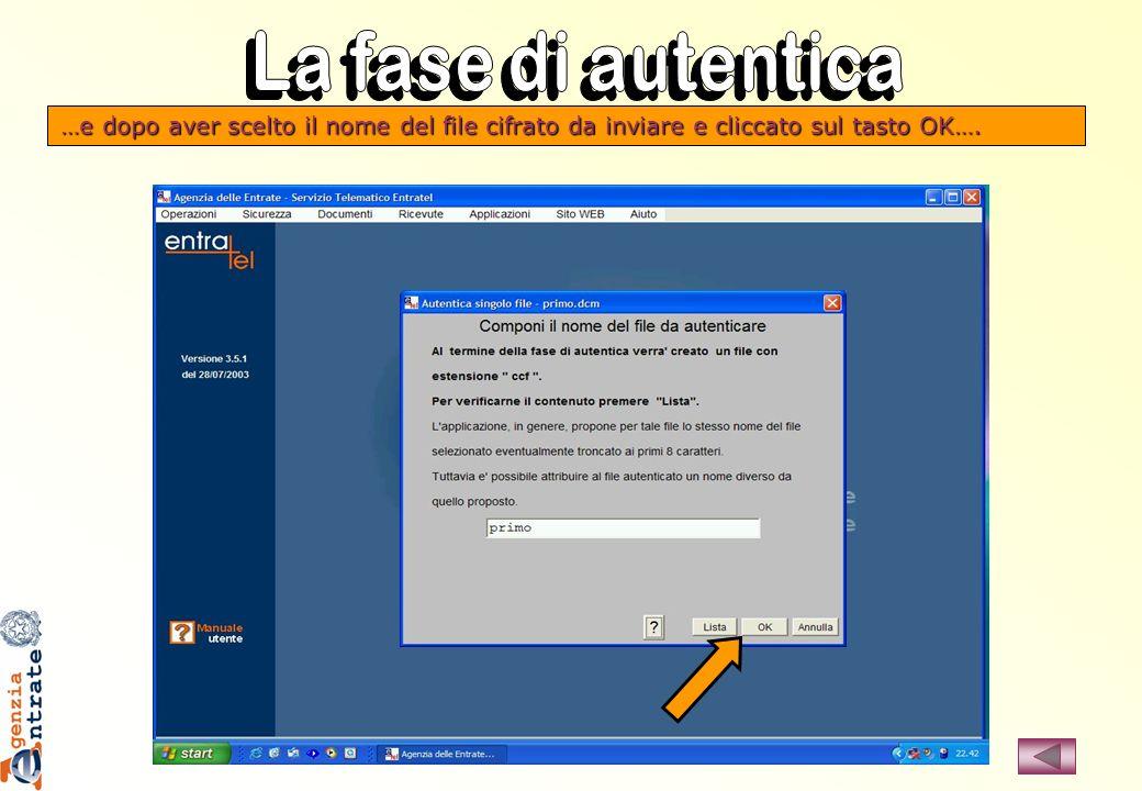 …e dopo aver scelto il nome del file cifrato da inviare e cliccato sul tasto OK….