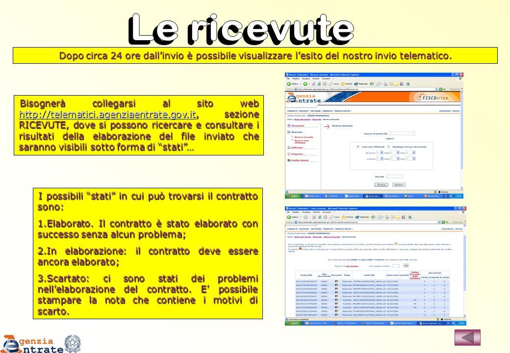 Bisognerà collegarsi al sito web http://telematici.agenziaentrate.gov.it, sezione RICEVUTE, dove si possono ricercare e consultare i risultati della e