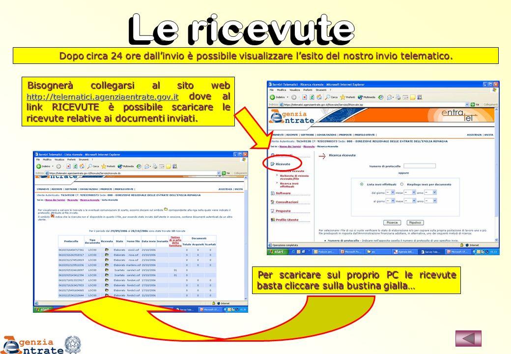 Bisognerà collegarsi al sito web http://telematici.agenziaentrate.gov.it dove al link RICEVUTE è possibile scaricare le ricevute relative ai documenti