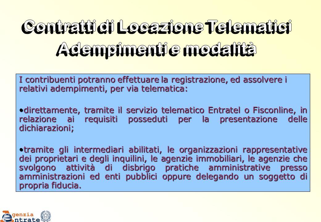 I contribuenti potranno effettuare la registrazione, ed assolvere i relativi adempimenti, per via telematica: direttamente, tramite il servizio telema