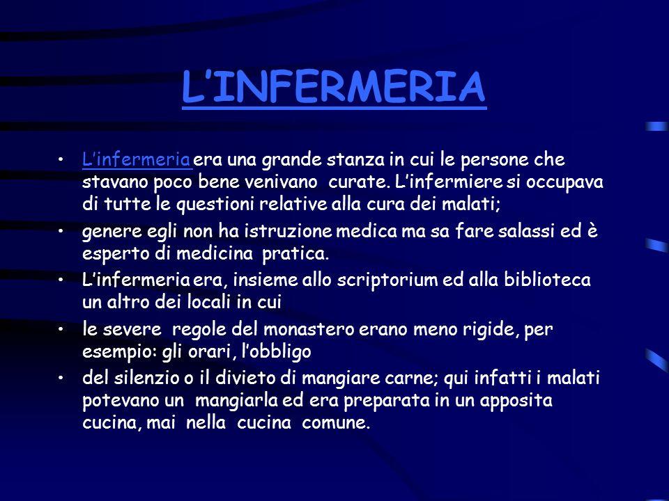 LINFERMERIA Linfermeria era una grande stanza in cui le persone che stavano poco bene venivano curate. Linfermiere si occupava di tutte le questioni r