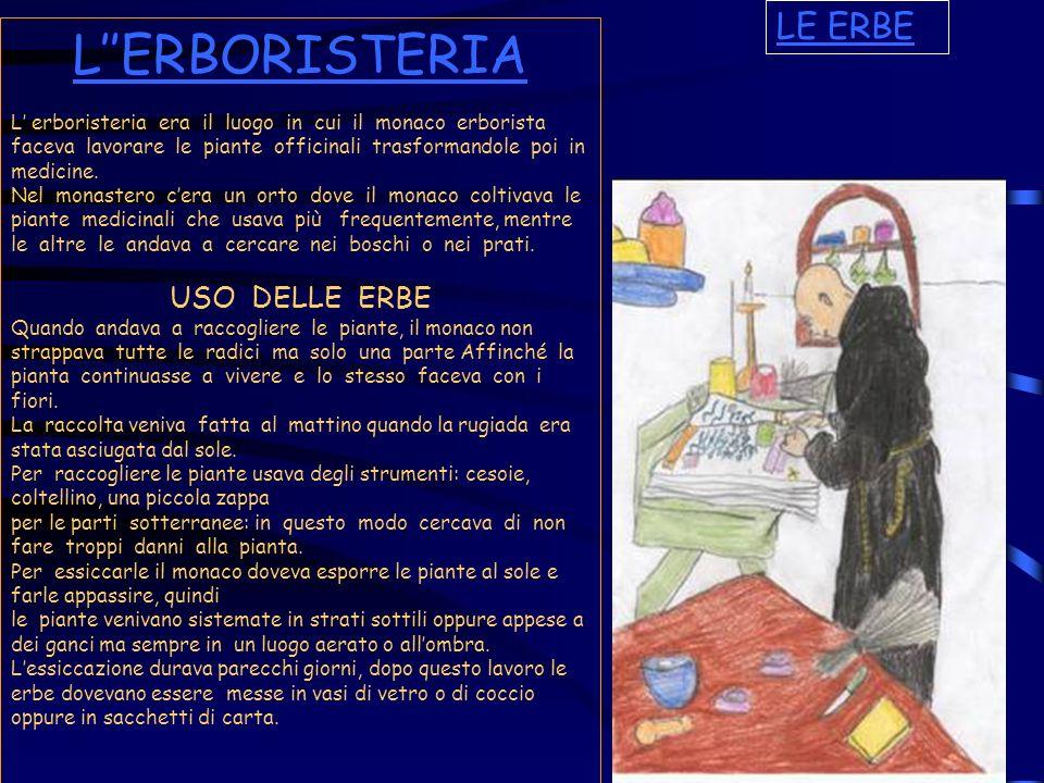LERBORISTERIA L erboristeria era il luogo in cui il monaco erborista faceva lavorare le piante officinali trasformandole poi in medicine. Nel monaster