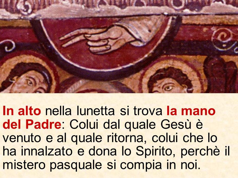 Sotto la mano del Padre vediamo Gesù innalzato nella gloria (il cerchio) ad dexteram Dei Patris, che riceve ladorazione gioiosa delle schiere celesti.