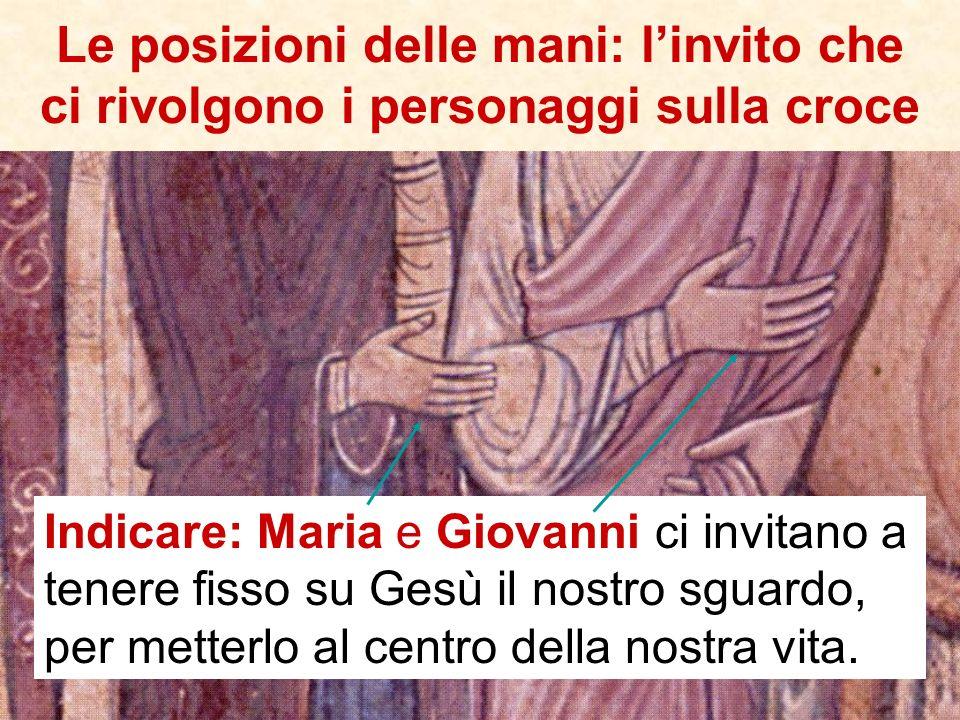 I due personaggi più piccoli sono: a sinistra Longino, il soldato che trafigge il costato di Gesù e – raggiunto da una goccia del suo sangue – recuper