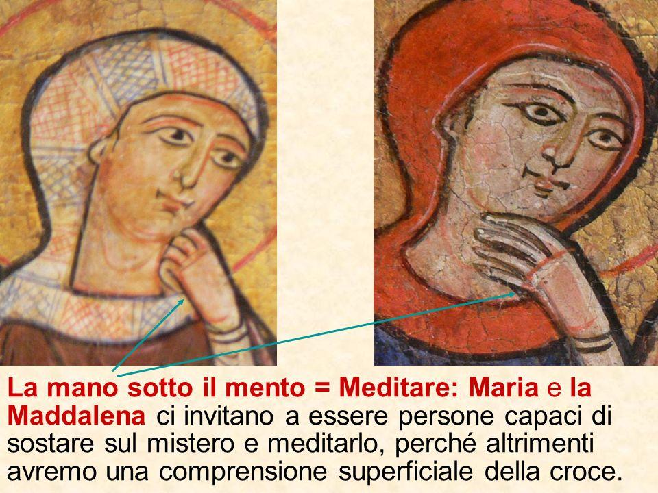 Le posizioni delle mani: linvito che ci rivolgono i personaggi sulla croce Indicare: Maria e Giovanni ci invitano a tenere fisso su Gesù il nostro sgu